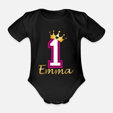 24d9d675d8a59 Anniversaire 1 An Premier anniversaire de bébé Emma - Body Bébé bio manches  courtes