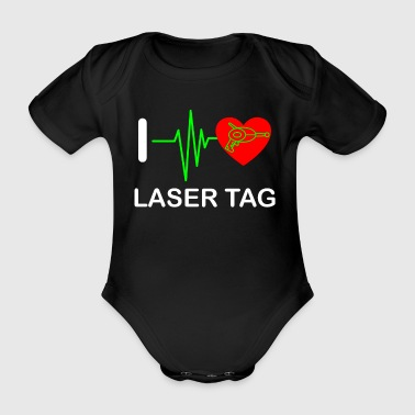 Funny Laser Tag Party TShirt Mode On I love laser tag - Organic Short-sleeved Baby Bodysuit