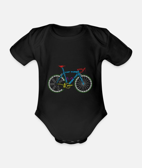 Cycling Baby Bodysuits - Bicycle anatomy for bike and cycling lovers - Organic Short-Sleeved Baby Bodysuit black