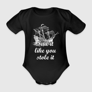 Sailing ship sailing boat gift theme - Organic Short-sleeved Baby Bodysuit
