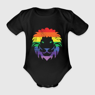 Rainbow Lion Gift Pride CSD Demo - Organic Short-sleeved Baby Bodysuit