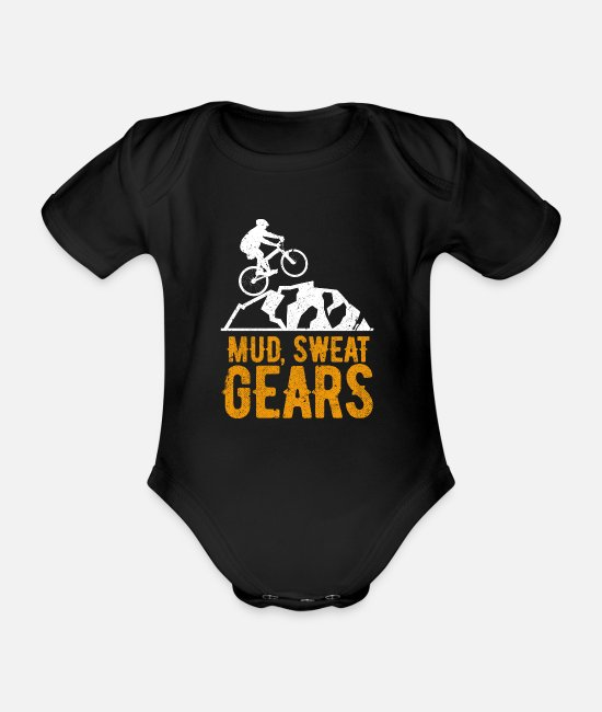 Wheel Baby Bodysuits - mountain bike - Organic Short-Sleeved Baby Bodysuit black