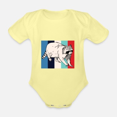 Rodent Rodent | Retro | Rodent | racoon - Organic Short-Sleeved Baby Bodysuit