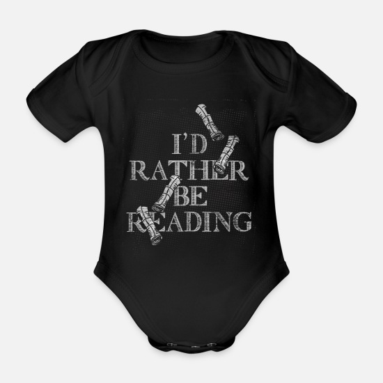 Newspaper Baby Clothes - Newspaper reading magazine news gift coffee - Organic Short-Sleeved Baby Bodysuit black