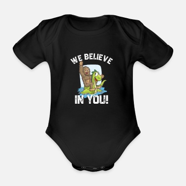 Bigfoot Riding Nessie We Believe in You Loch Ness - Organic Short-sleeved Baby Bodysuit