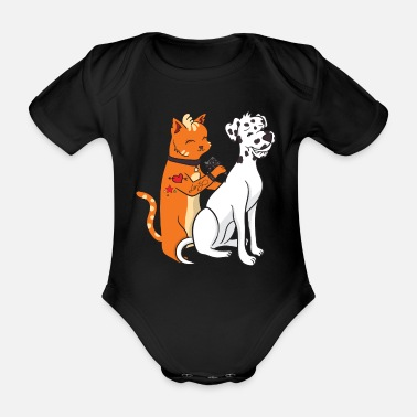 Cats And Dogs Collection Dalmatian Dog Tattoo Cat Funny Gift - Organic Short-Sleeved Baby Bodysuit