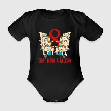 Set Eight Maids A Milking Song 12 Days Christmas Numbers Red - Organic Short-sleeved Baby Bodysuit