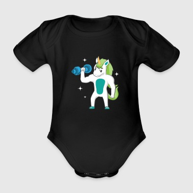Weight Lifting Unicorn Bicep Curls Weight Training Lifting - Organic Short-sleeved Baby Bodysuit