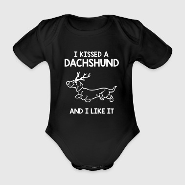 Hunting Dachshund dog - Organic Short-sleeved Baby Bodysuit