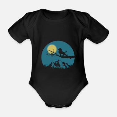 Cubs Lion sunset shadow cliff gift - Organic Short-sleeved Baby Bodysuit