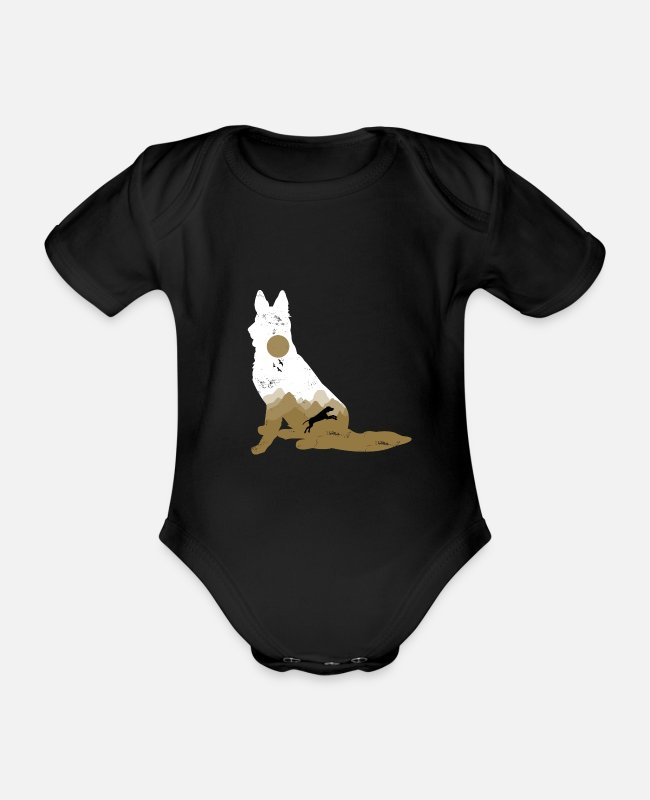 Dachshund Baby Bodysuits - Dog Gift Puppy Pet Wuff - Organic Short-Sleeved Baby Bodysuit black