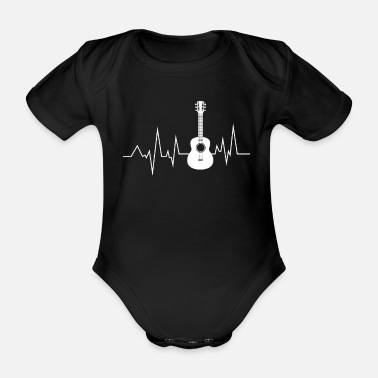Bass Guitar Heartbeat is Life Funny Gift Idea - Organic Short-sleeved Baby Bodysuit