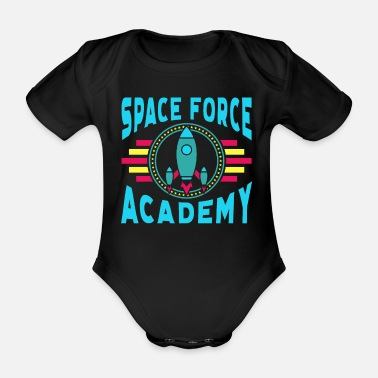 Army Space Force Academy Art, Vintage Retro Novelty - Organic Short-sleeved Baby Bodysuit