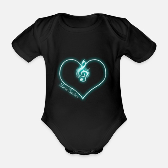 Gift Idea Baby Clothes - Music teacher music - Organic Short-Sleeved Baby Bodysuit black