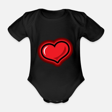 Lovely Heart symbol gift love christmas - Organic Short-sleeved Baby Bodysuit