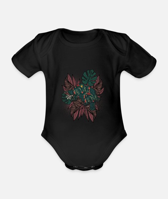 Nature Baby Bodysuits - Platypus fern Hawaiian - Organic Short-Sleeved Baby Bodysuit black