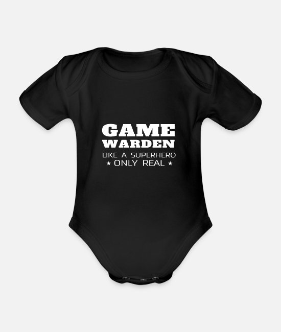 Gamekeeper Baby Bodysuits - Funny Game Warden Gift Thin Green Line - Organic Short-Sleeved Baby Bodysuit black