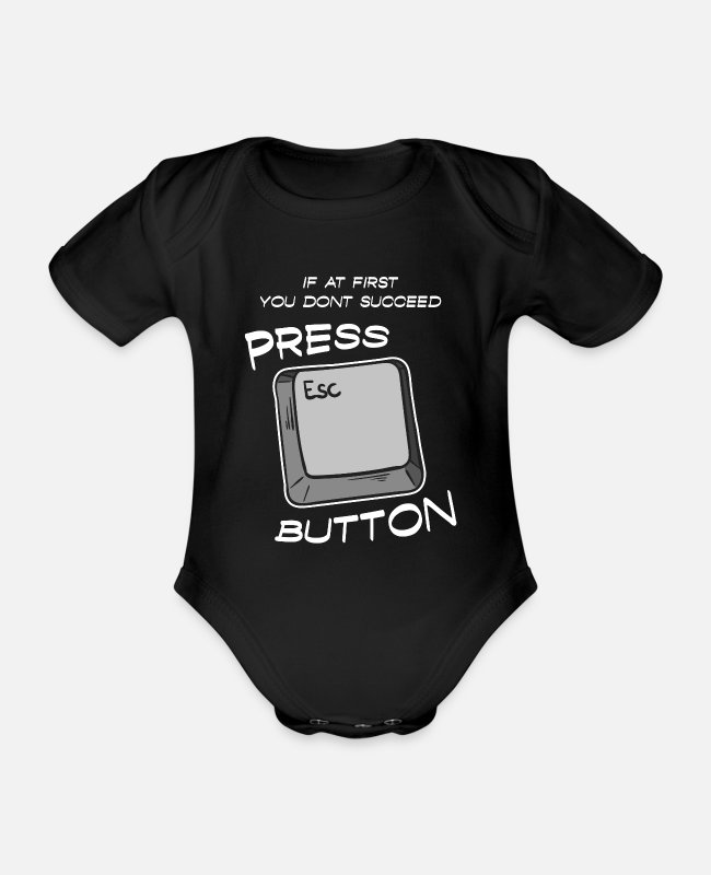 Church Baby Bodysuits - Jesus Bible Religious press ESC button Pray Chris - Organic Short-Sleeved Baby Bodysuit black