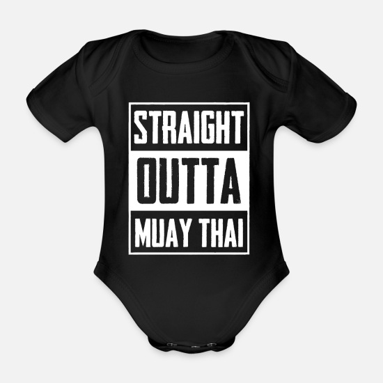 Muay Thai Baby Clothes - Muay Thai Combat Sports - Organic Short-Sleeved Baby Bodysuit black