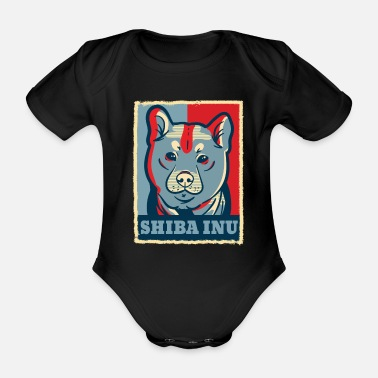 Obama Shiba Inu Dog Retro Vintage Blue Red Gift - Ekologisk kortärmad babybody