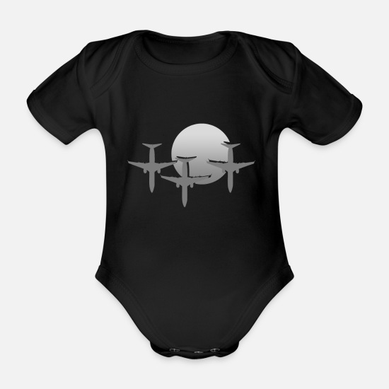 Flight Baby Clothes - Pilot Airplane Airplane Gift - Organic Short-Sleeved Baby Bodysuit black