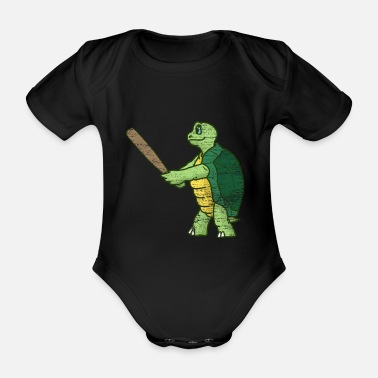 Marine Turtle baseball gift - Organic Short-sleeved Baby Bodysuit