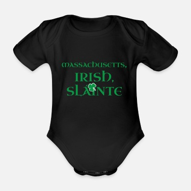 Grandad Massachusetts Irish Gift | St Patricks Day Gift - Organic Short-sleeved Baby Bodysuit