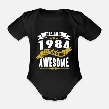 November Made in 1984 35 Years Of Being Awesome - Organic Short-sleeved Baby Bodysuit