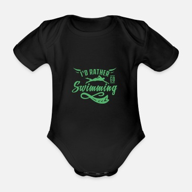 Swimmer Swimming swimmer swimmer - Organic Short-Sleeved Baby Bodysuit
