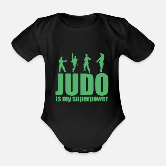 Gift Idea Baby Clothes - Judo Judo Judo Judo - Organic Short-Sleeved Baby Bodysuit black
