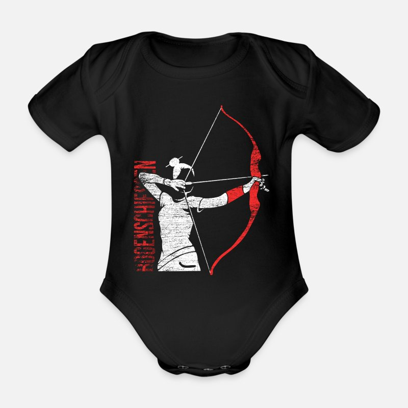 Ziel Baby Clothes - archery - Organic Short-Sleeved Baby Bodysuit black