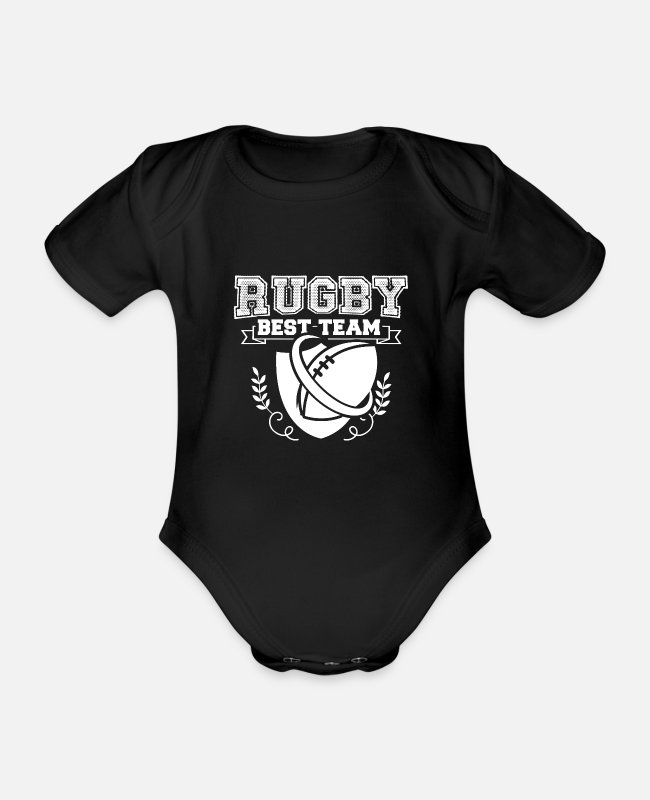 Rugby Baby Bodysuits - Rugby rugby rugby - Organic Short-Sleeved Baby Bodysuit black