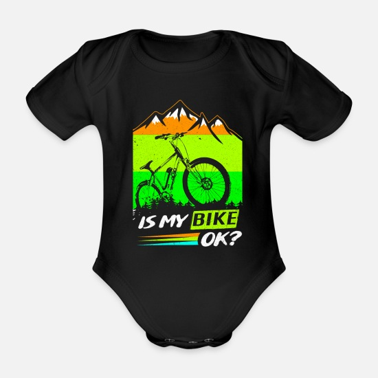 Downhill Baby Clothes - bicycle - Organic Short-Sleeved Baby Bodysuit black