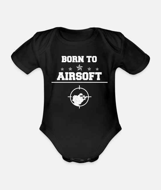 Softair Baby Bodysuits - Airsoft - Airsoft - Born To - Airsoft - Organic Short-Sleeved Baby Bodysuit black