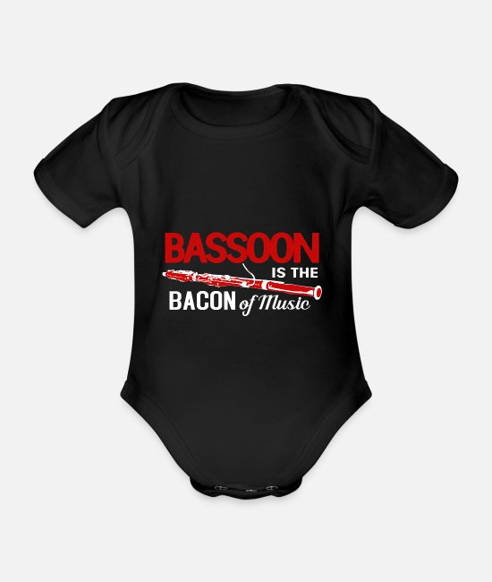 Octave Baby Clothes - Bassoon wind instrument brass band music teacher octave - Organic Short-Sleeved Baby Bodysuit black