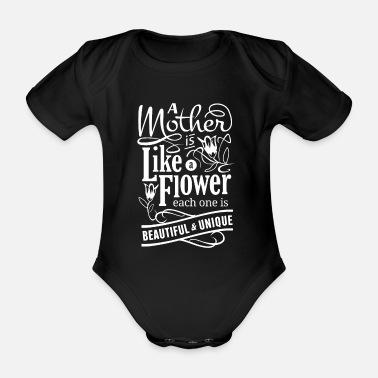 Mothers Day design for Wife - Mother is like a - Organic Short-Sleeved Baby Bodysuit
