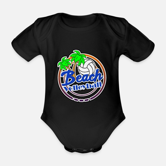 Volleyball Team Baby Clothes - Beach Volleyball Beach Beach - Organic Short-Sleeved Baby Bodysuit black
