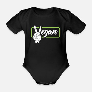 Vegan Peace Sign - Organic Short-Sleeved Baby Bodysuit