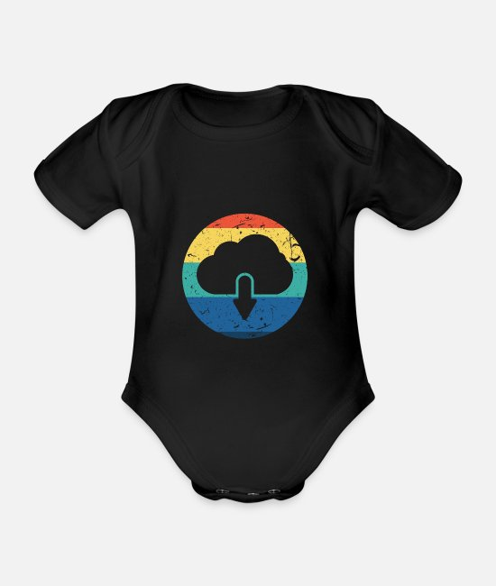 Christmas Baby Bodysuits - Cloud Download Vintage Gift - Organic Short-Sleeved Baby Bodysuit black