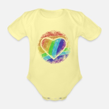 Heart Rainbow heart - Organic Short-Sleeved Baby Bodysuit