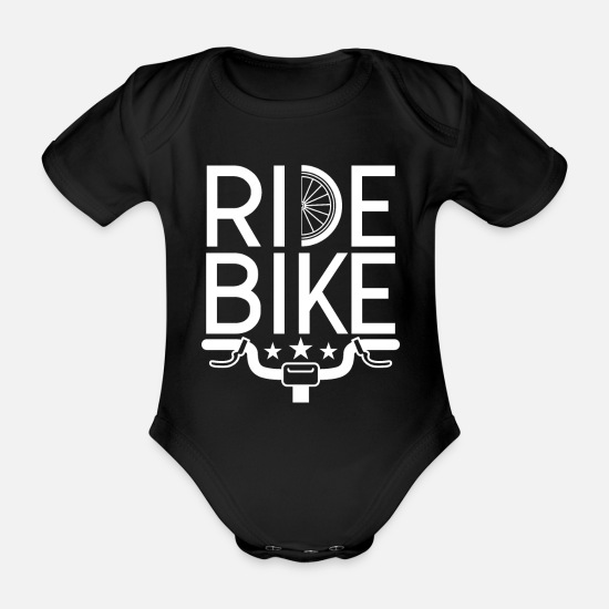 Enviromental Baby Clothes - Ride Bike I bike & philosophy on the road - Organic Short-Sleeved Baby Bodysuit black