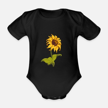 One Birthday Sunflower Classic gift for florists - Organic Short-Sleeved Baby Bodysuit