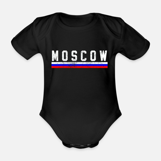 Capital Baby Clothes - Moscow Russian national flag - Organic Short-Sleeved Baby Bodysuit black