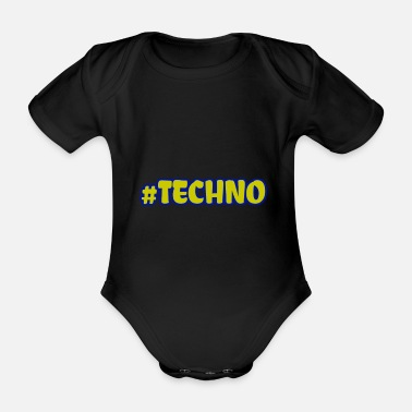 Techno Music Techno - Music - # techno # - Organic Short-Sleeved Baby Bodysuit