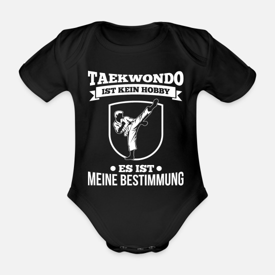 Martial Arts Baby Clothes - Taekwondo T-Shirt No hobby my destiny - Organic Short-Sleeved Baby Bodysuit black