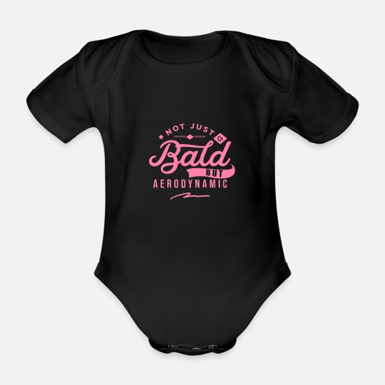 Husband Baby Clothes - No bald hair bald bearer hairstyle balding - Organic Short-Sleeved Baby Bodysuit black