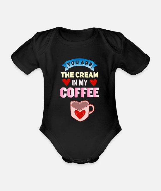 Husband Baby Bodysuits - Drink coffee cream - Organic Short-Sleeved Baby Bodysuit black