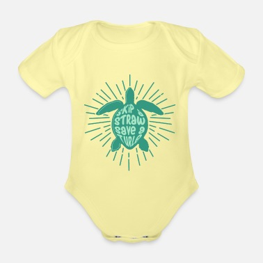 Children Turtle -Save the World - Organic Short-Sleeved Baby Bodysuit