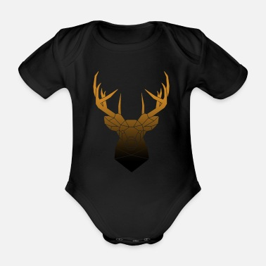 Antler Deer Head Geometric Polygon Oktoberfest - Organic Short-Sleeved Baby Bodysuit