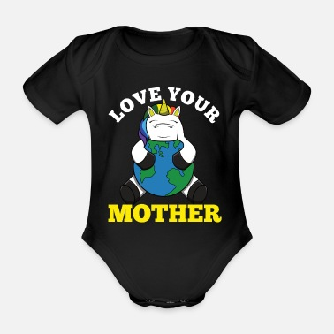 Waste Earth Day Funny Unicorn Gift Men Women Kids - Organic Short-Sleeved Baby Bodysuit
